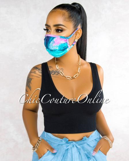 Josie Pink Aqua Abstract Print Fashion Mask