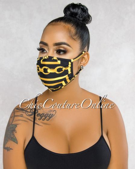 Taiko Black Gold Chain Print Fashion Mask