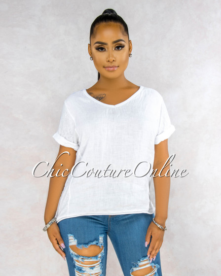 Ladah White Short Cuff Sleeves LINEN Top