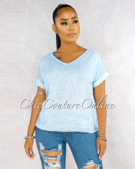 Ladah Baby Blue Short Cuff Sleeves LINEN Top