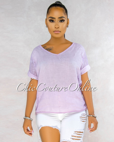 Ladah Lilac Short Cuff Sleeves LINEN Top