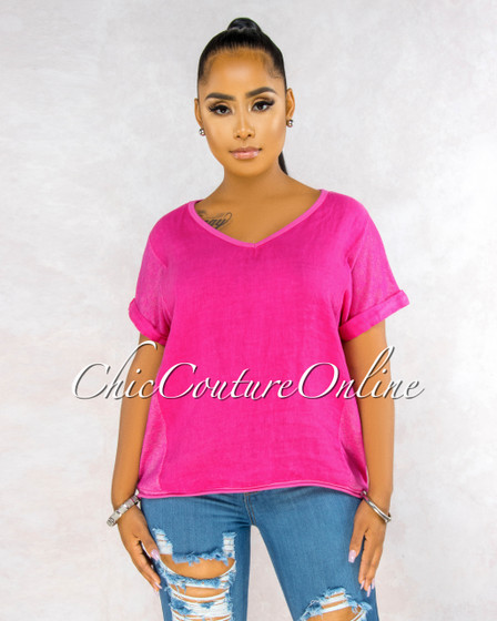 Ladah Fuschia Short Cuff Sleeves LINEN Top