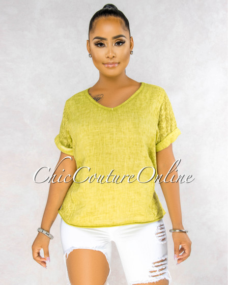 Ladah Olive Green Short Cuff Sleeves LINEN Top