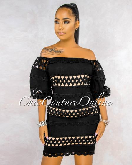 Dimy Black Crochet Nude Illusion Off-The Shoulder Dress