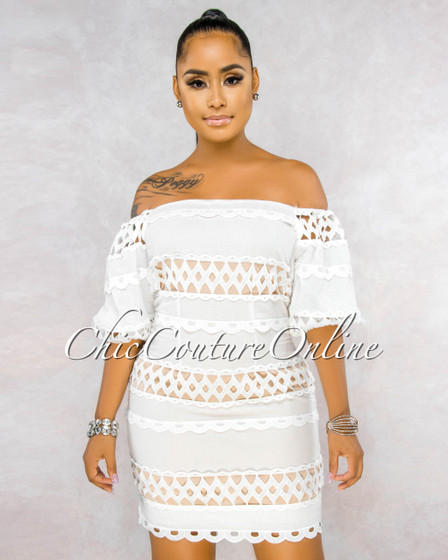 Dimy Off-White Crochet Nude Illusion Off-The Shoulder Dress