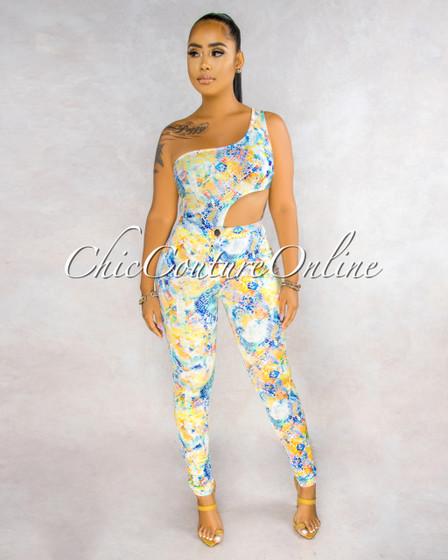 Hamlet Multi-Color Snake Print Cut-Out Bodysuit Pants Set
