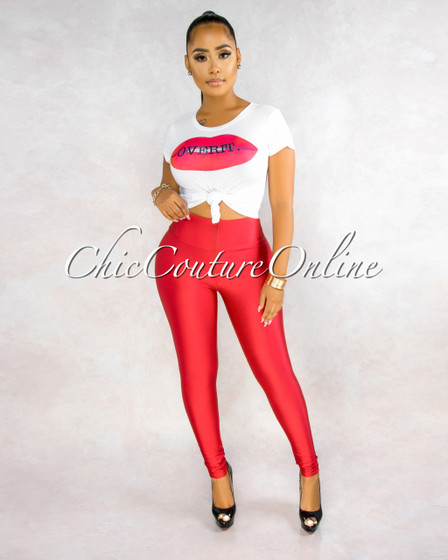 Moxie White Red Graphic Top Red Legging Set