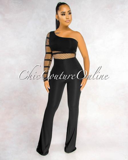 Marlenny Black Fishnet Details Single Long Sleeve Jumpsuit