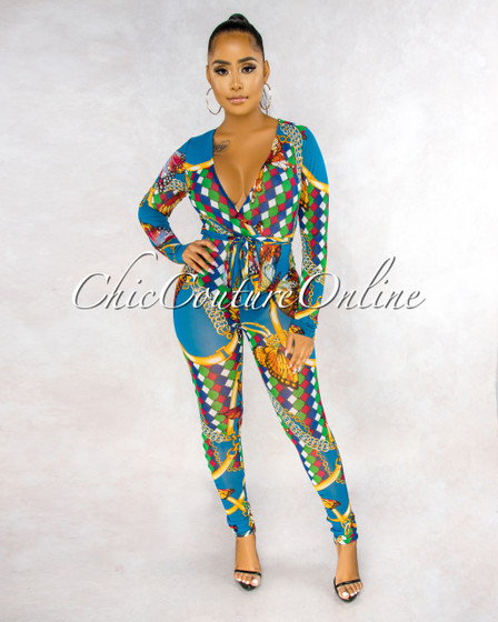 Zoey Teal Multi-Color Butterfly Print Mesh Sheer Jumpsuit