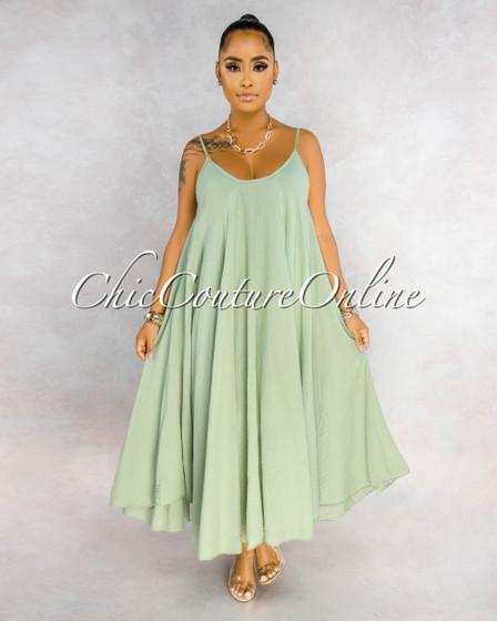 Normandie Sage Green Wide Flutter Maxi Dress