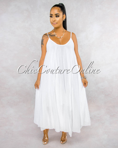Normandie White Wide Flutter Maxi Dress