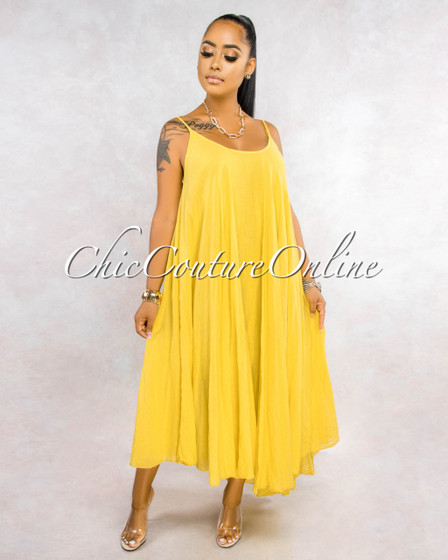 Normandie Mustard Yellow Wide Flutter Maxi Dress
