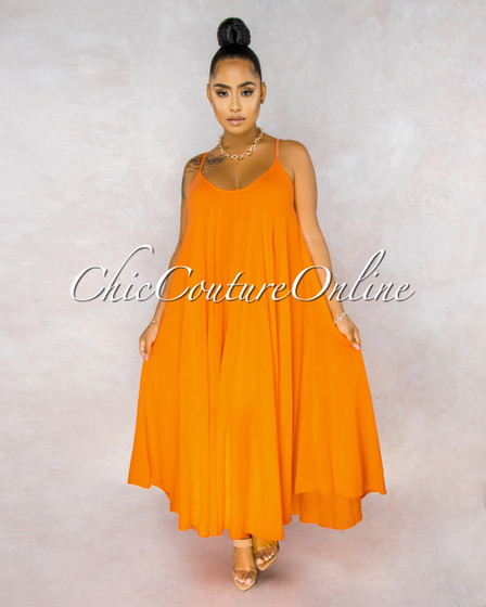 Normandie Orange Wide Flutter Maxi Dress