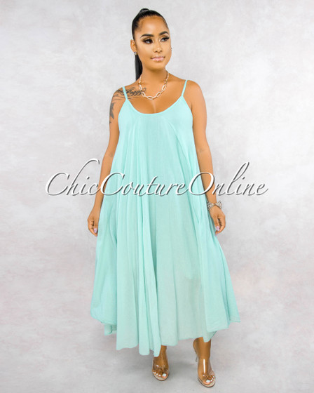 Normandie Aquamarine Wide Flutter Maxi Dress