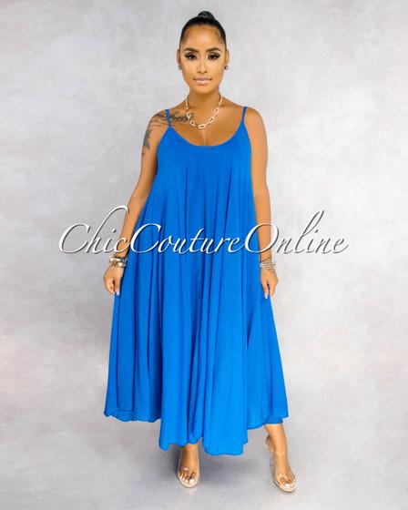 Normandie Royal Blue Wide Flutter Maxi Dress