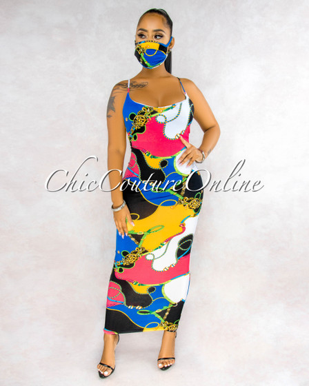 Nadiya Multi Color Print Slip On Matching Fashion Mask Dress