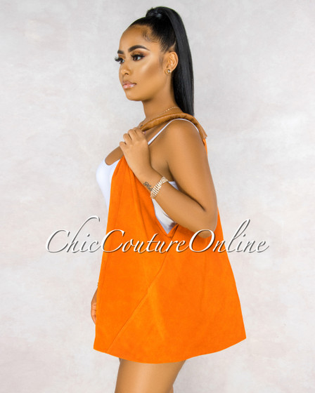 Fonseco Orange Suede Leather Hobo Bag