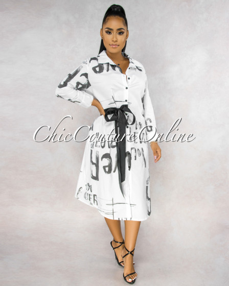 Gavino White Black Graffiti Print Midi Dress