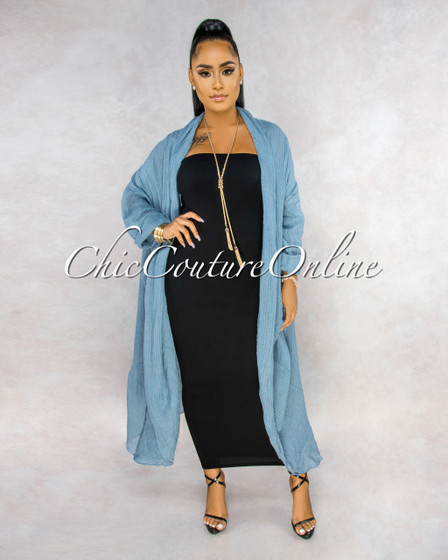Halina Slate Blue Stripes Texture LINEN Long Duster