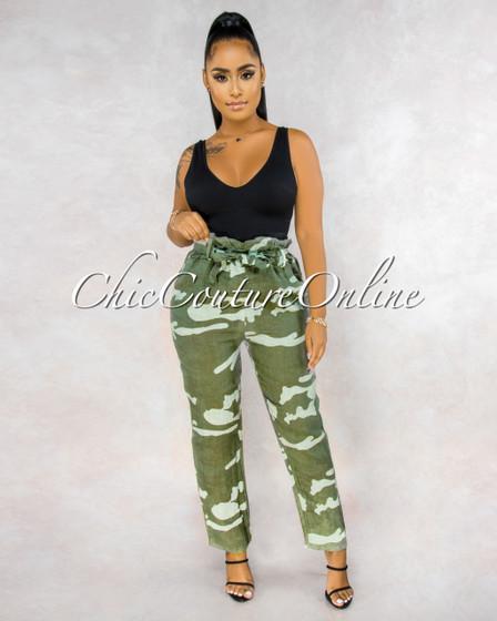 Martelli Olive Green Camo Paper Bag LINEN Ankle Pants