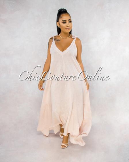 Armanie Blush Flare LINEN Maxi Dress