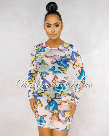 Aleina White Buttherfly Print Sheer Mesh Dress