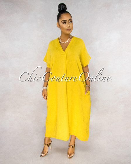 Aura Yellow Over-sized V-Neck Maxi LINEN Dress