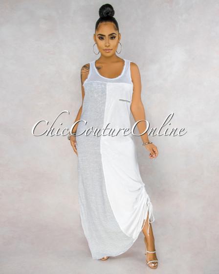 Antonia White Grey Straps Shimmer Side Slit Maxi Dress