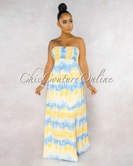 Kaylee Blue Yellow Tie-Dye Smocked Strappy Back Ruffle Dress