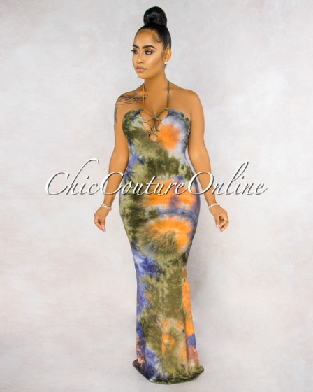 Analisha Olive Green Multi-Color Lace-Up Top Tie-Dye Maxi Dress