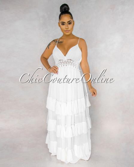 Abott Off-White Crochet See-Through Waist Ruffle Hem Maxi Dress
