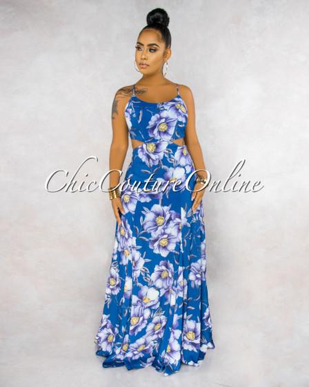 Fernandina Blue Floral Print Back Lace-Up Maxi Dress