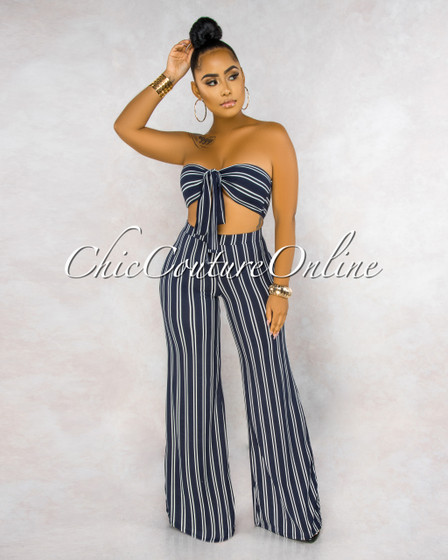 Rosie Navy Blue White Stripes Ruched Top Pants Set