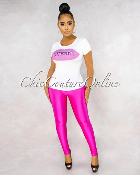 Moxie White Hot Pink Graphic Top Hot Pink Legging Set