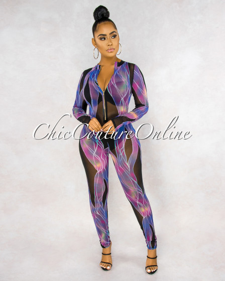 Eloyda Black Purple Print Mesh Sheer Front Zipper Jumpsuit