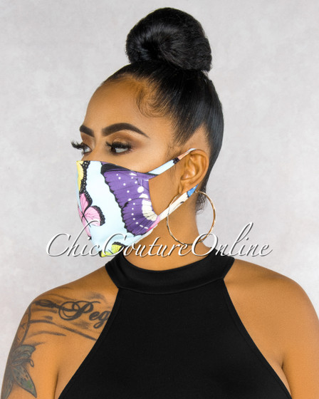 Eunice Baby Blue Butterfly Print Fashion Mask