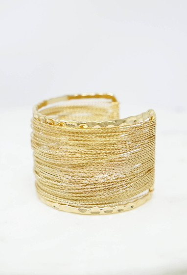 Lorla Gold Cuff with Wires Bracelet