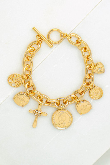 Siri Gold Charm Bracelet with Coins