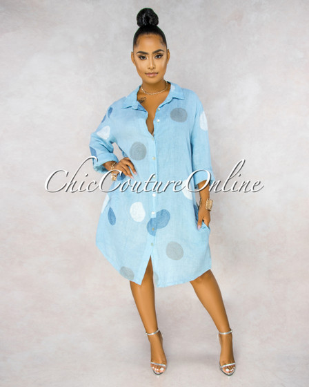 Emersyn Baby Blue Grey Circles Shirt LINEN Midi Dress