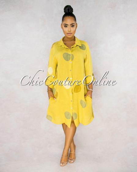 Emersyn Yellow Grey Circles Shirt LINEN Midi Dress