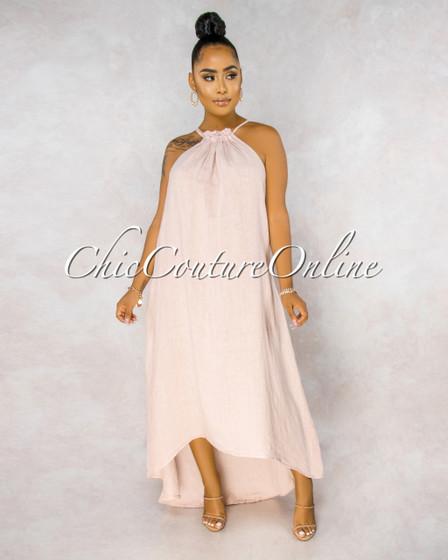 Kiah Blush Ruched Neckline High-Low Halter LINEN Dress