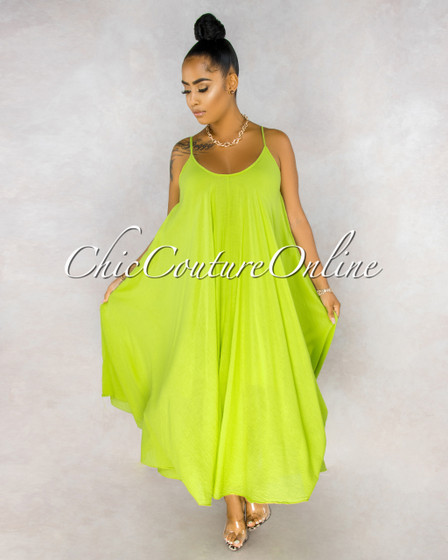 Normandie Key Lime Wide Flutter Maxi Dress