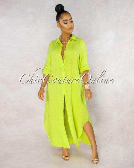 Daleah Key Lime Front Buttons Shirt LINEN Maxi Dress