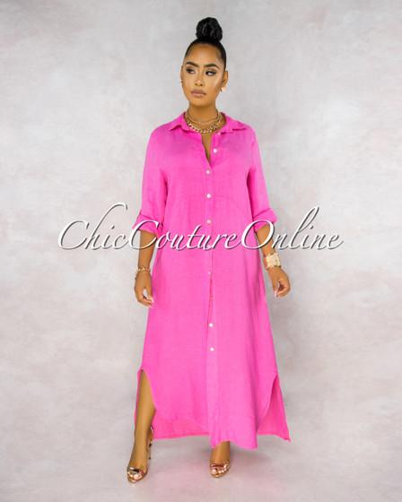 Daleah Rose Front Buttons Shirt LINEN Maxi Dress