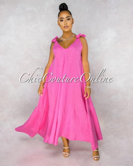 Armanie Rose Flare LINEN Maxi Dress