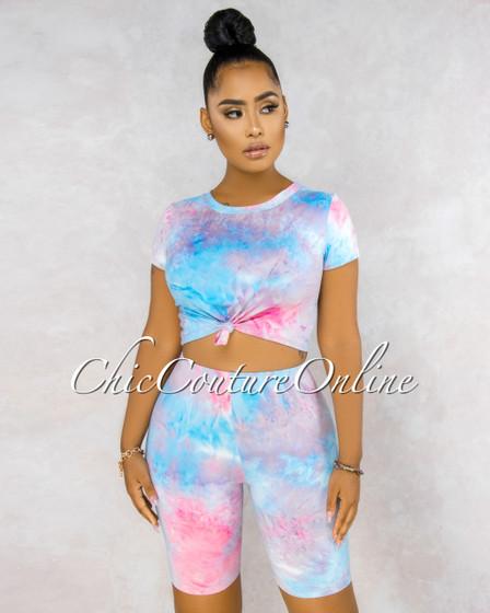 Caliz Baby Blue Pink Tie-Dye Bike Shorts Two Piece Set