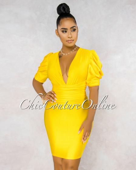 Bonny Yellow Draped Waist Puffy Sleeves Midi Dress