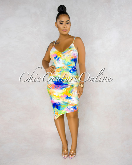 Ginette White Tropical Print Ruched Side Asymmetrical Dress