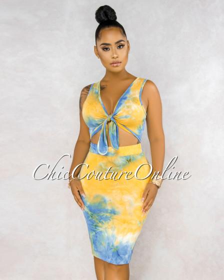 Dazue Blue Yellow Tie-Dye Front Tie Top  Pencil Skirt Set