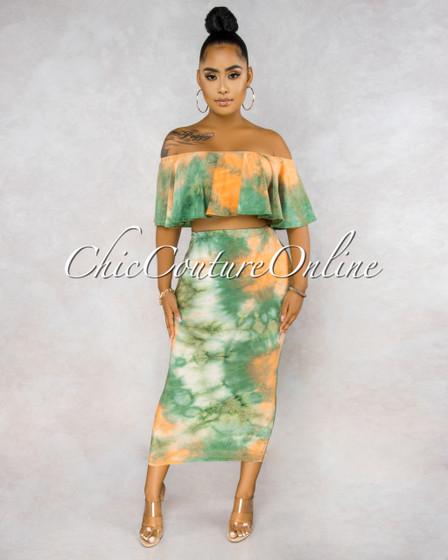 Adoniram Green Orange Tie-Dye Ruffle Top Pencil Skirt Set